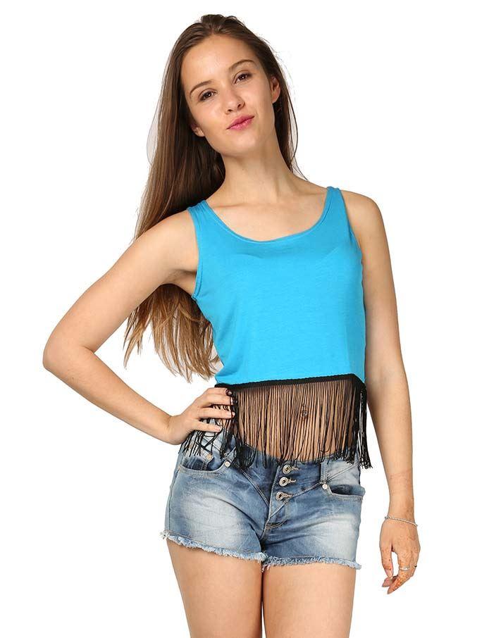 New-Womens-Cropped-Tops-Vest-Scoop-Neck-Sleeveless-Ladies-Tassel-Fringe-T-Shirt
