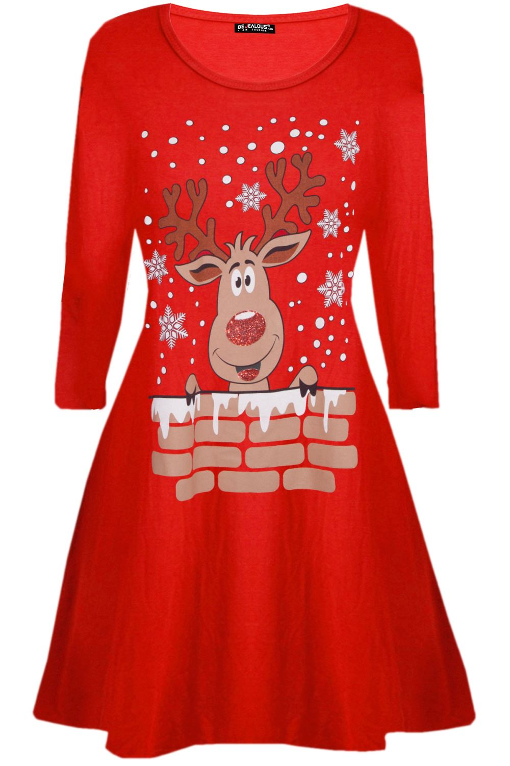 Womens-Ladies-Kids-Girls-Christmas-Xmas-Santa-Reindeer-Flared-Swing-Mini-Dress thumbnail 9