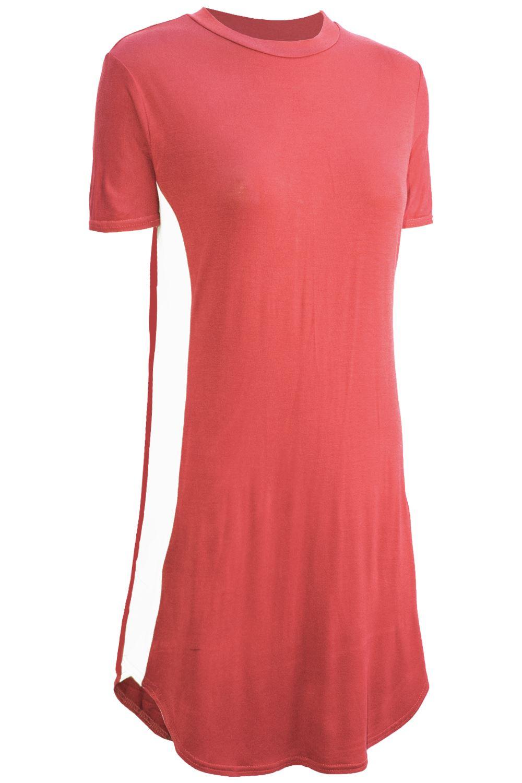 Womens-Ladies-Casual-Curved-Hem-Short-Sleeve-Side-Panel-Long-T-Shirt-Mini-Dress