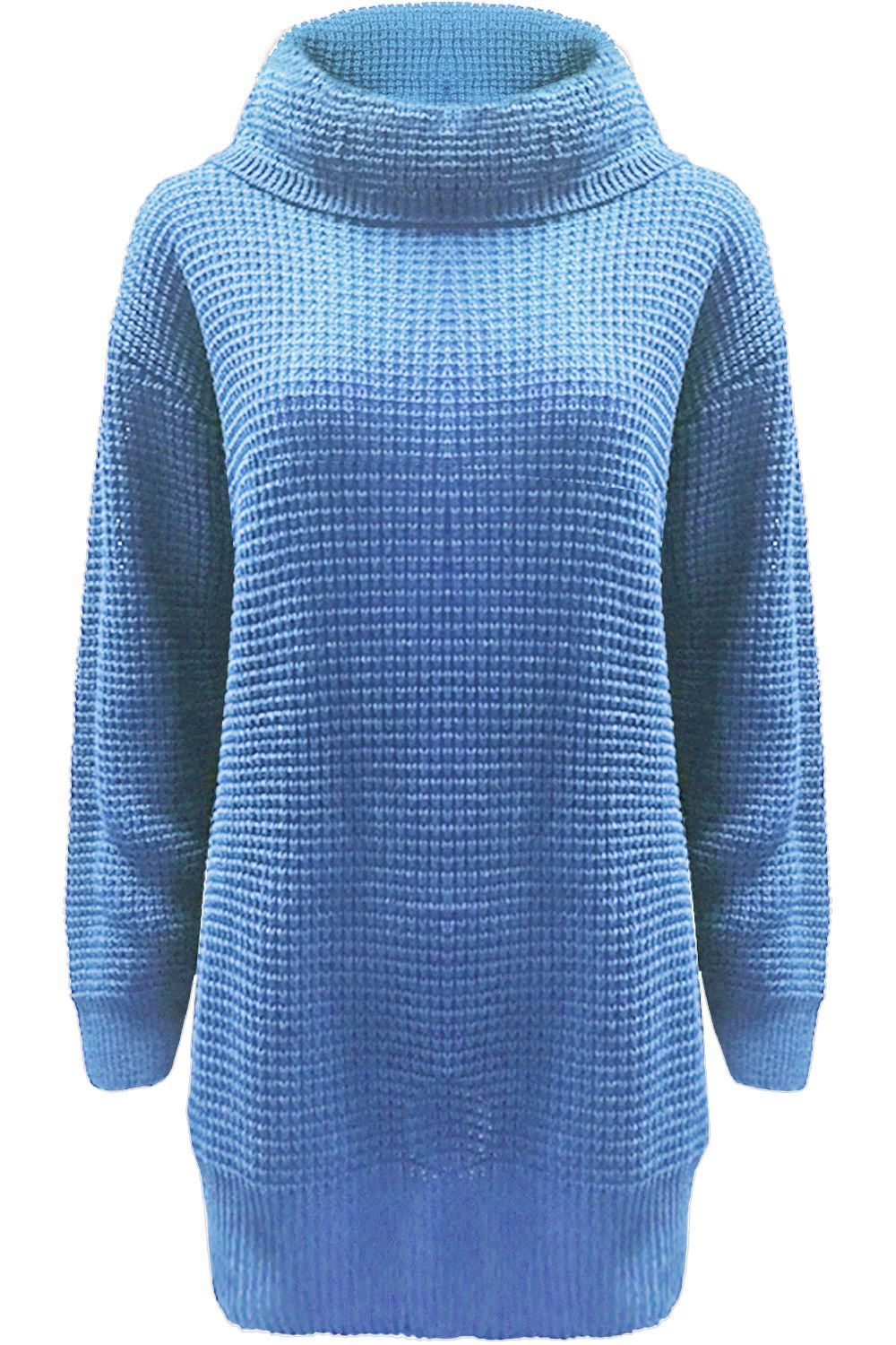 Womens Cowl Neck Mini Dress Jumper Knitted Long Sleeve Polo Oversized Baggy Top