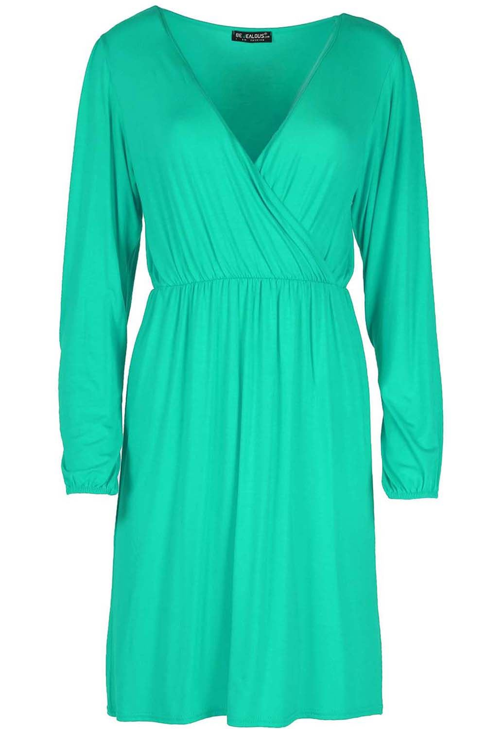 Ladies-Womens-Ruched-Cross-Over-Swing-Flared-Wrap-Front-Skater-Midi-Dress-Top