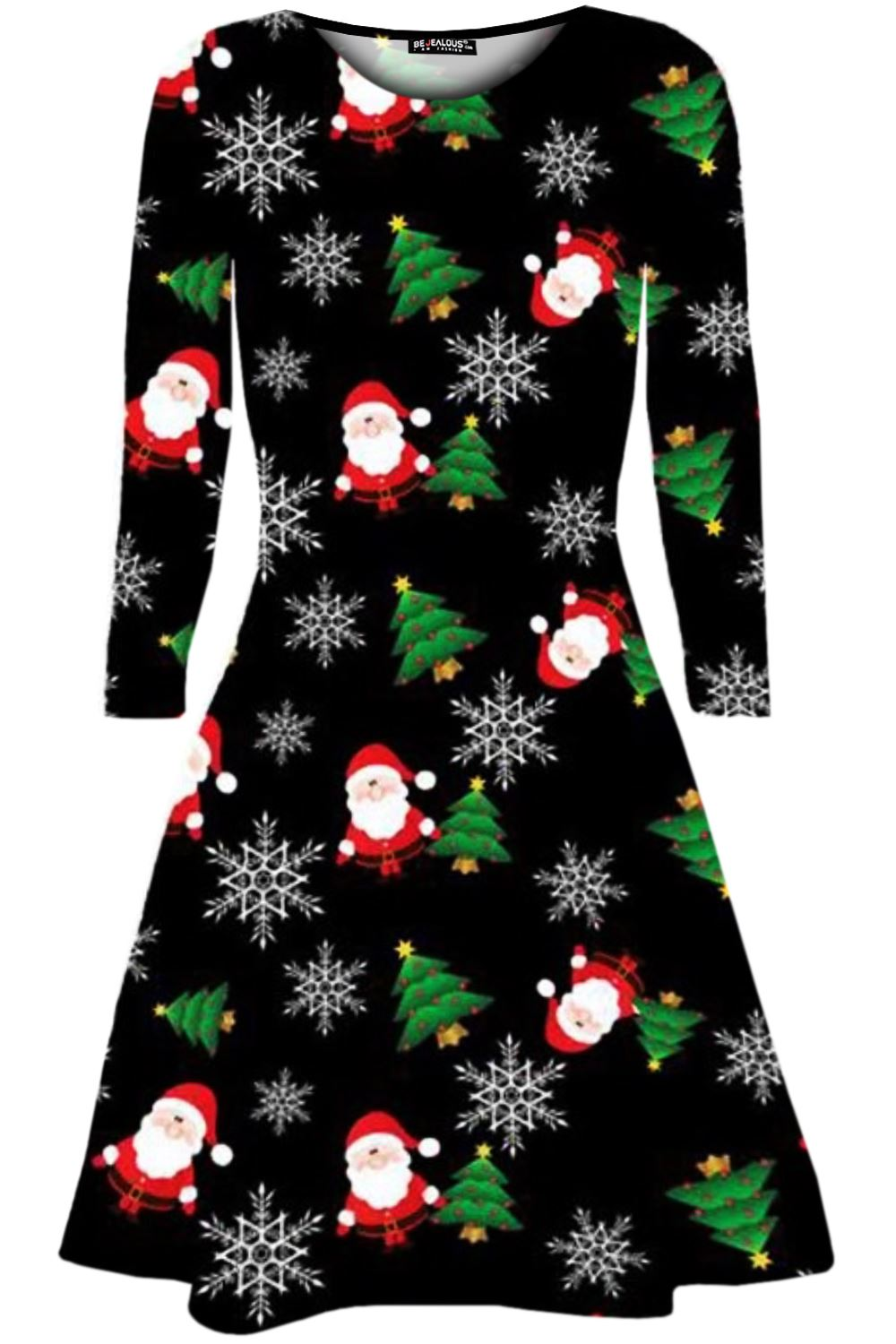 Womens-Ladies-Christmas-Tree-Santa-Snowman-Gift-Present-Xmas-Flared-Swing-Dress thumbnail 15