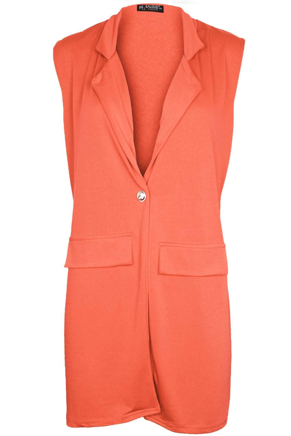 Women-Ladies-Sleeveless-Long-Duster-Coat-Collar-Waistcoat-Smart-Blazer-Plus-Size thumbnail 20