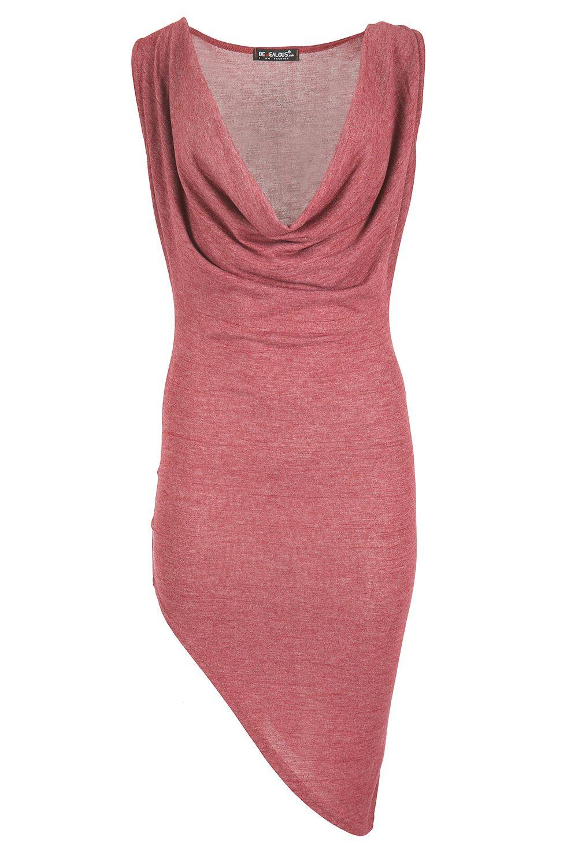 Womens Party Dresses Ladies Drape Cowl Neck Side Slant Stretchy ...