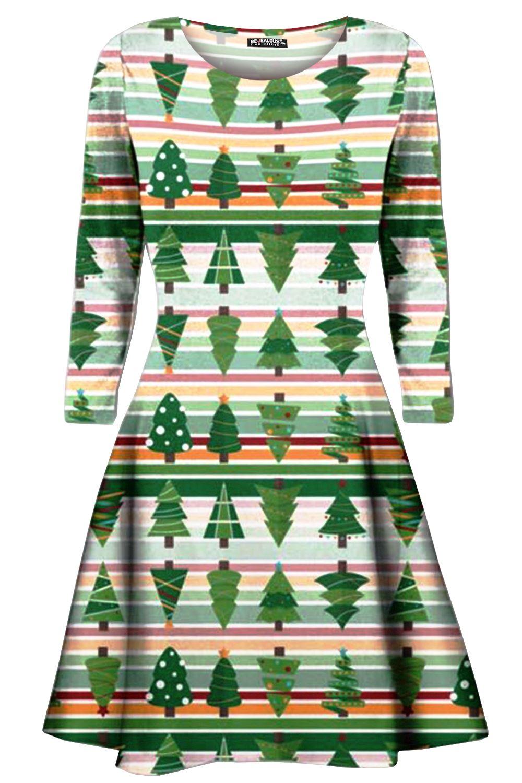 Womens-Xmas-Ladies-Santa-Snowman-Reindeer-Flare-Christmas-Smock-Swing-Mini-Dress thumbnail 17