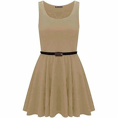 New-Womens-Ladies-Belted-Sleeveless-Franki-Flared-Party-Swing-Skater-Dress-Top thumbnail 20