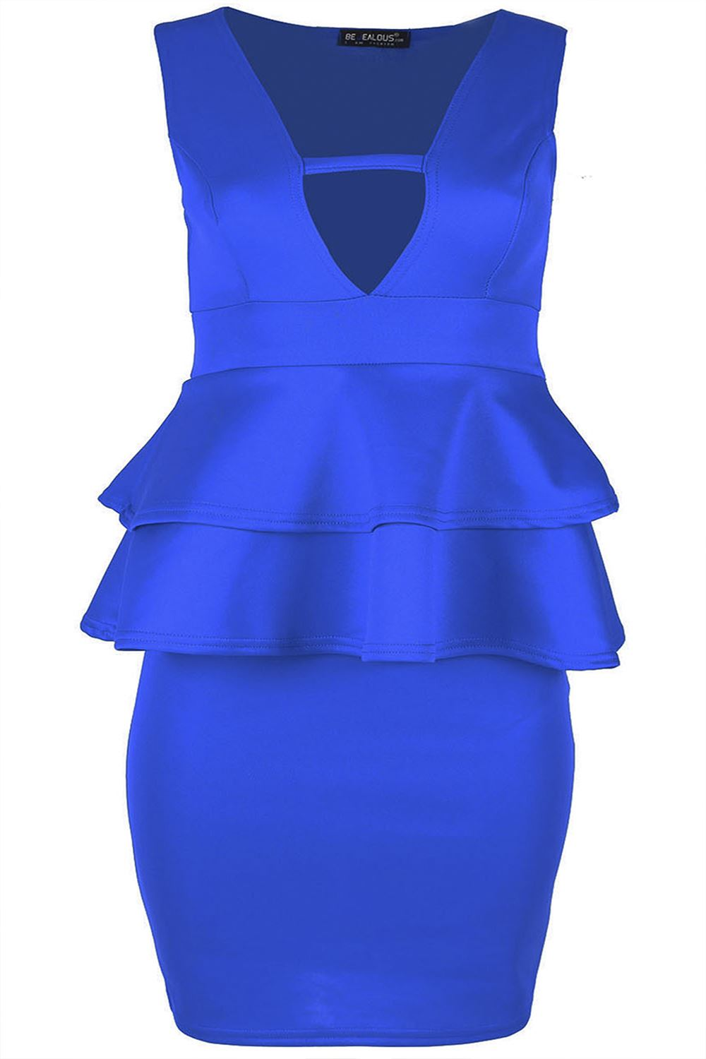 Womens Ladies Sleeveless Flare V Neck Peplum Frill Bodycon Mini Dress Plus Sizes