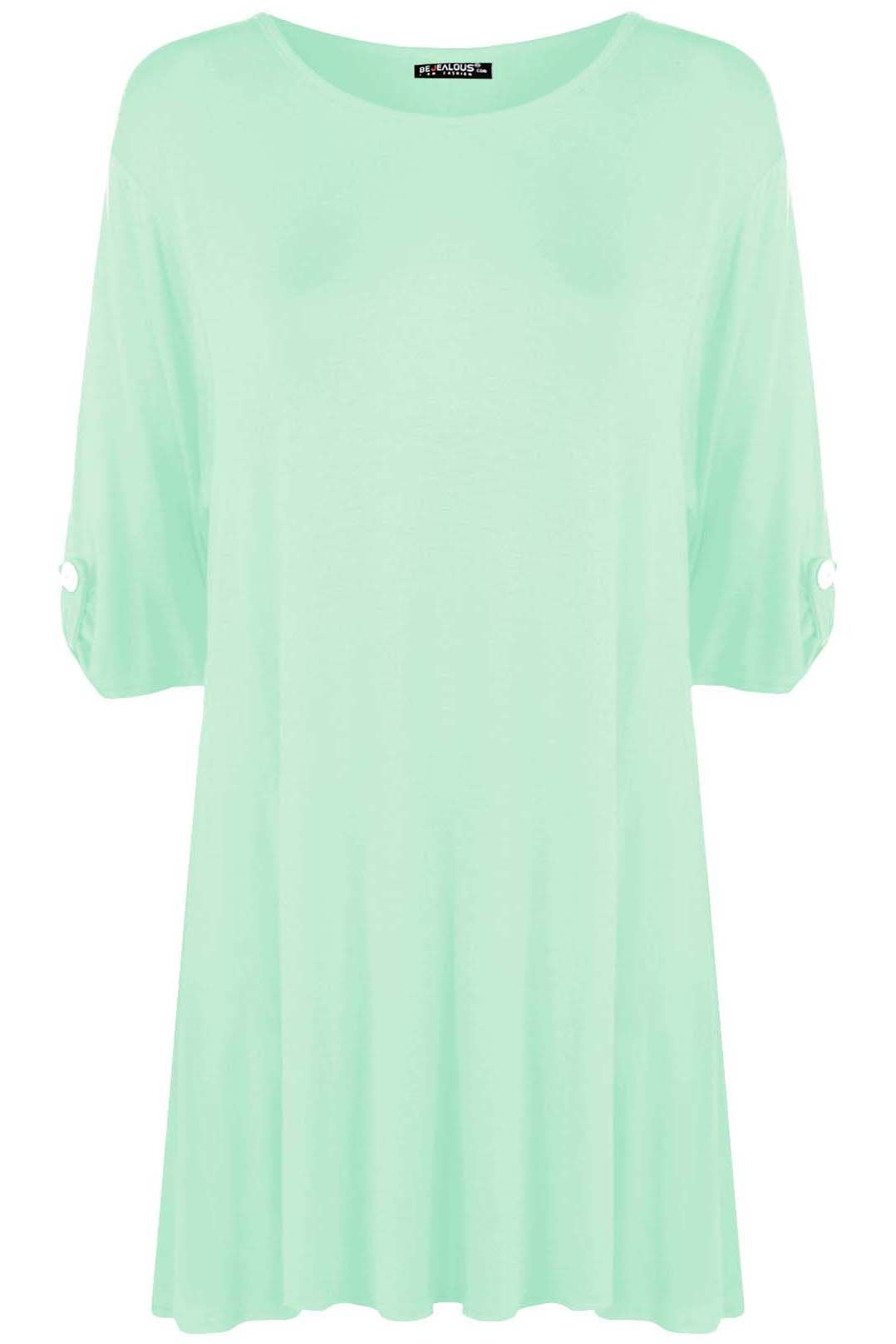 Plus size ladies womens plain button turn up short sleeve for Best short sleeve shirts