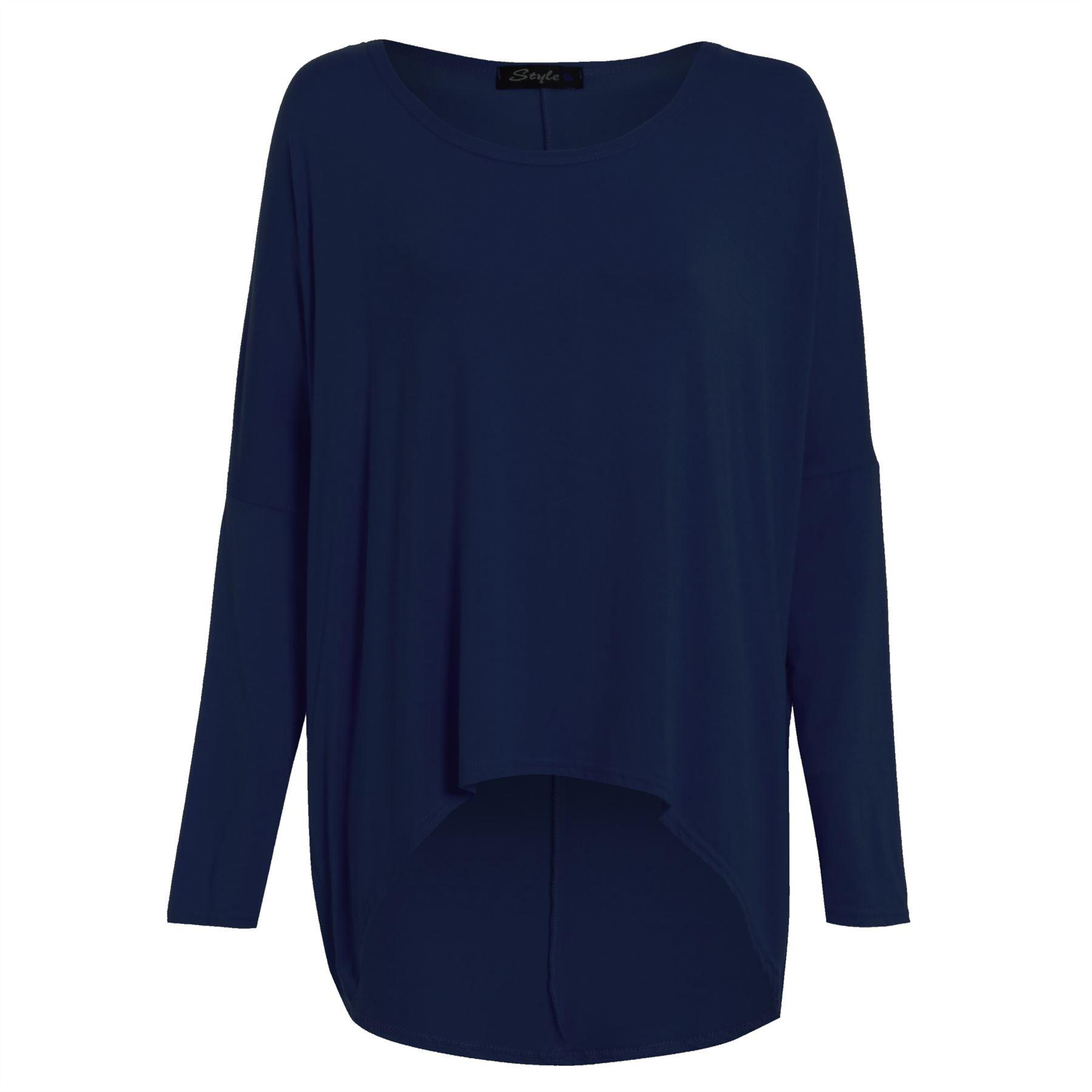 Plus-Size-Ladies-Women-Oversize-Jumper-Lagenlook-Baggy-Off-Shoulder-High-Low-Top