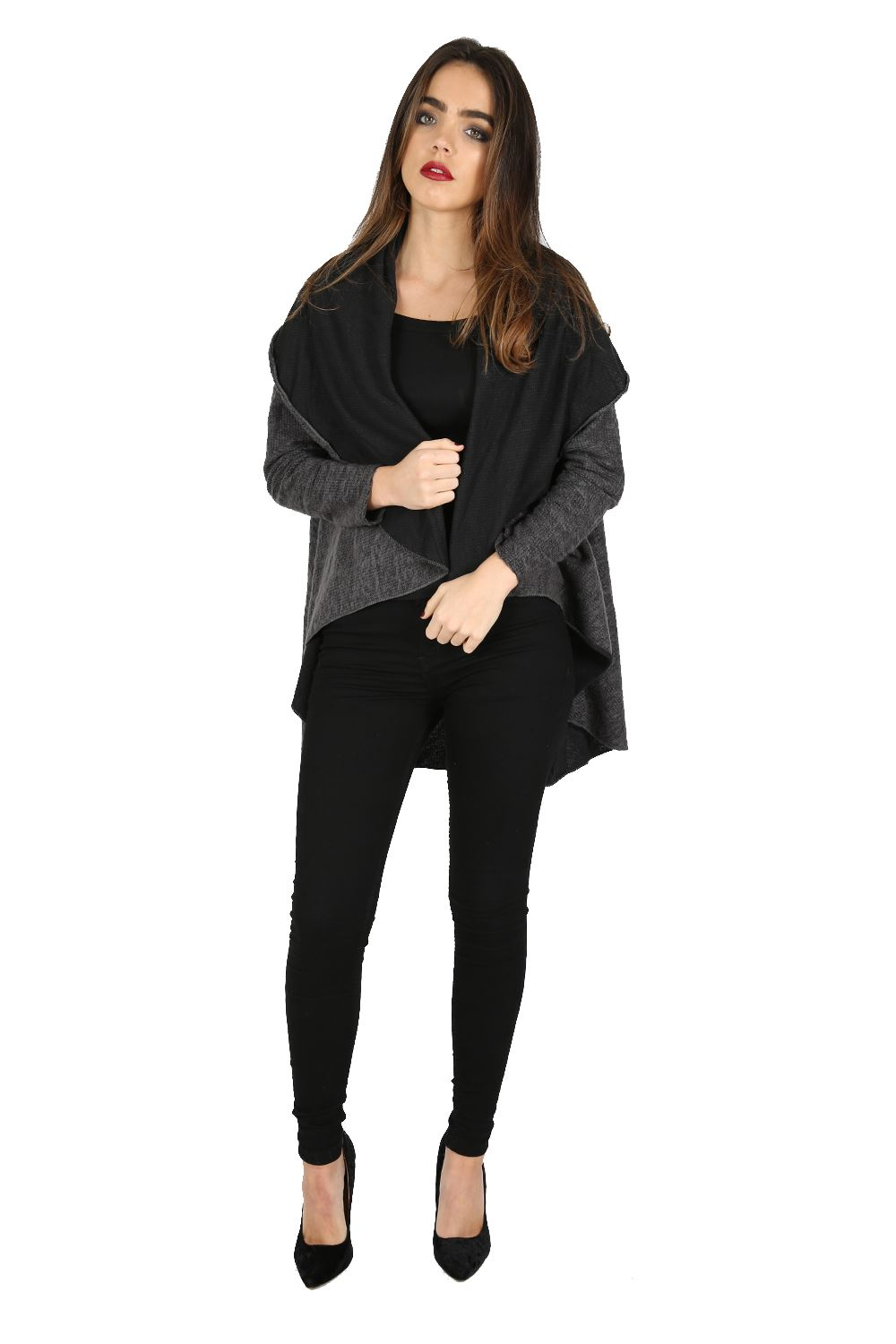 womens ladies oversized cape cardigan baggy knitted italian blazer jacket coat ebay. Black Bedroom Furniture Sets. Home Design Ideas