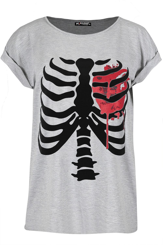 Womens Ladies Halloween Bleeding Heart Turn Up Cap Sleeve Baggy T-Shirt Tee Top