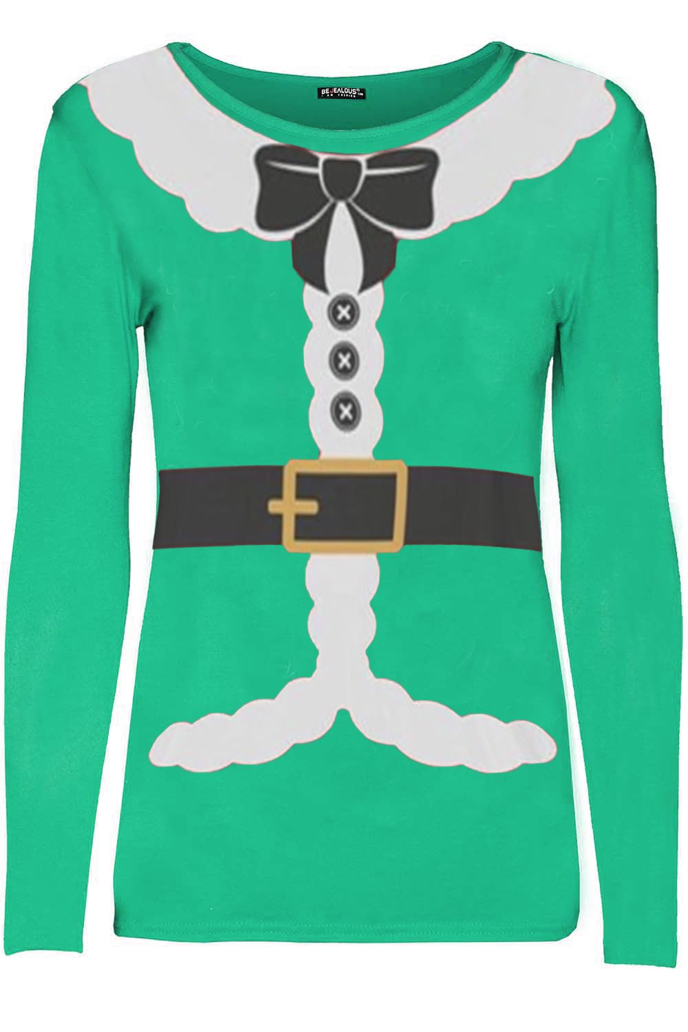 Ladies-Womens-Xmas-Christmas-Santa-Claus-Ribbon-Suit-Belted-Costume-T-Shirt-Top
