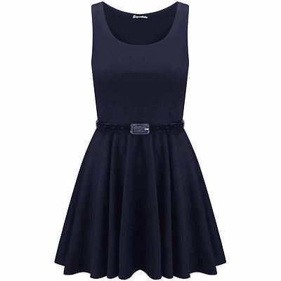 New-Womens-Ladies-Belted-Sleeveless-Franki-Flared-Party-Swing-Skater-Dress-Top thumbnail 30