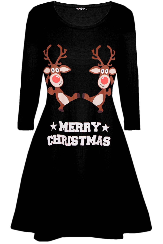 Womens-Ladies-Christmas-Xmas-Santa-Face-Gifts-Reindeer-Flared-Swing-Mini-Dress thumbnail 2