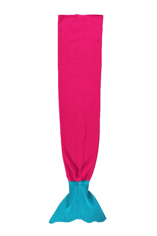 Girls Kids Knitted Mermaid Contrast Crochet Sleeping Bag Beach Sofa Tail Blanket