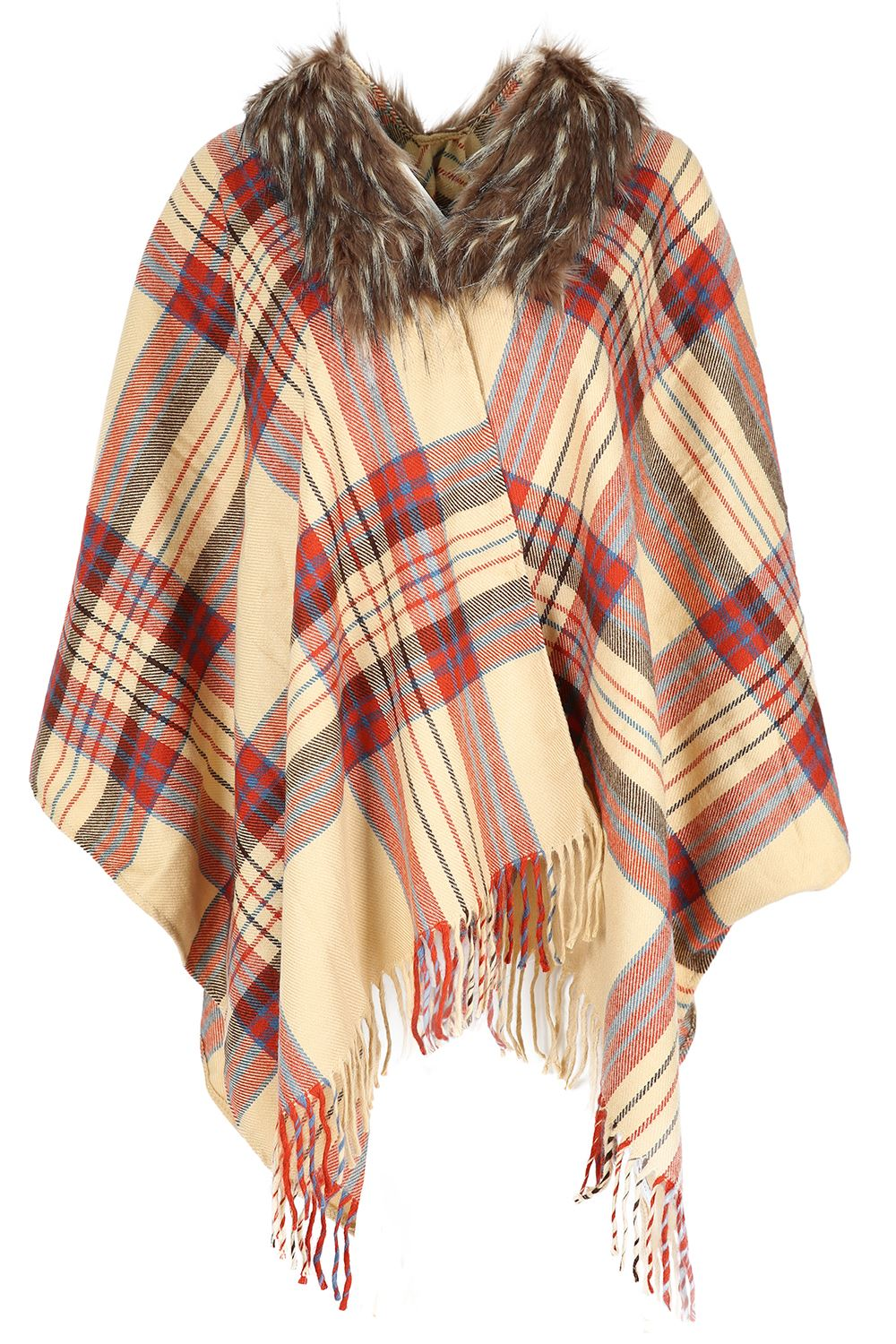 womens shawl poncho tartan fox fur neck collar cape