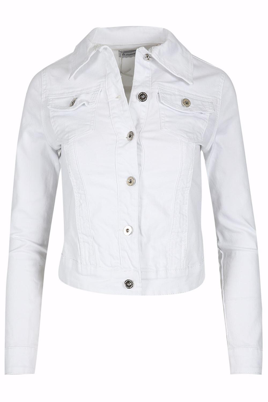 Womens-Ladies-Pockets-Slim-Denim-Jean-Buttons-Down-Coat-Crop-Jacket-Top-Outwear 縮圖 4