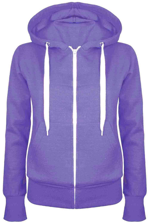 Details about Ladies Plain Zip Up Fleece Hoody Women Sweatshirt Coat Jacket Top Hoodies 6 24