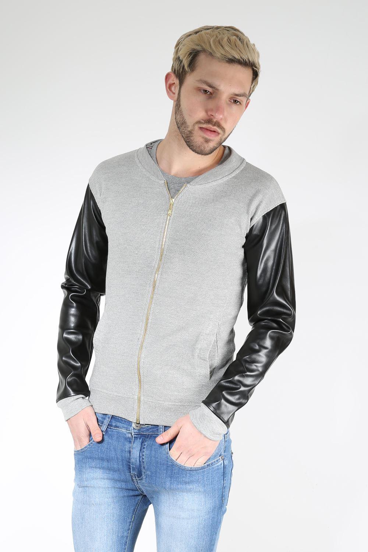 King-Kouture-Mens-Boys-WAFFLE-PU-Long-Sleeve-Zipper-Zip-Up-Pique-Bomber-Jacket miniatuur 3