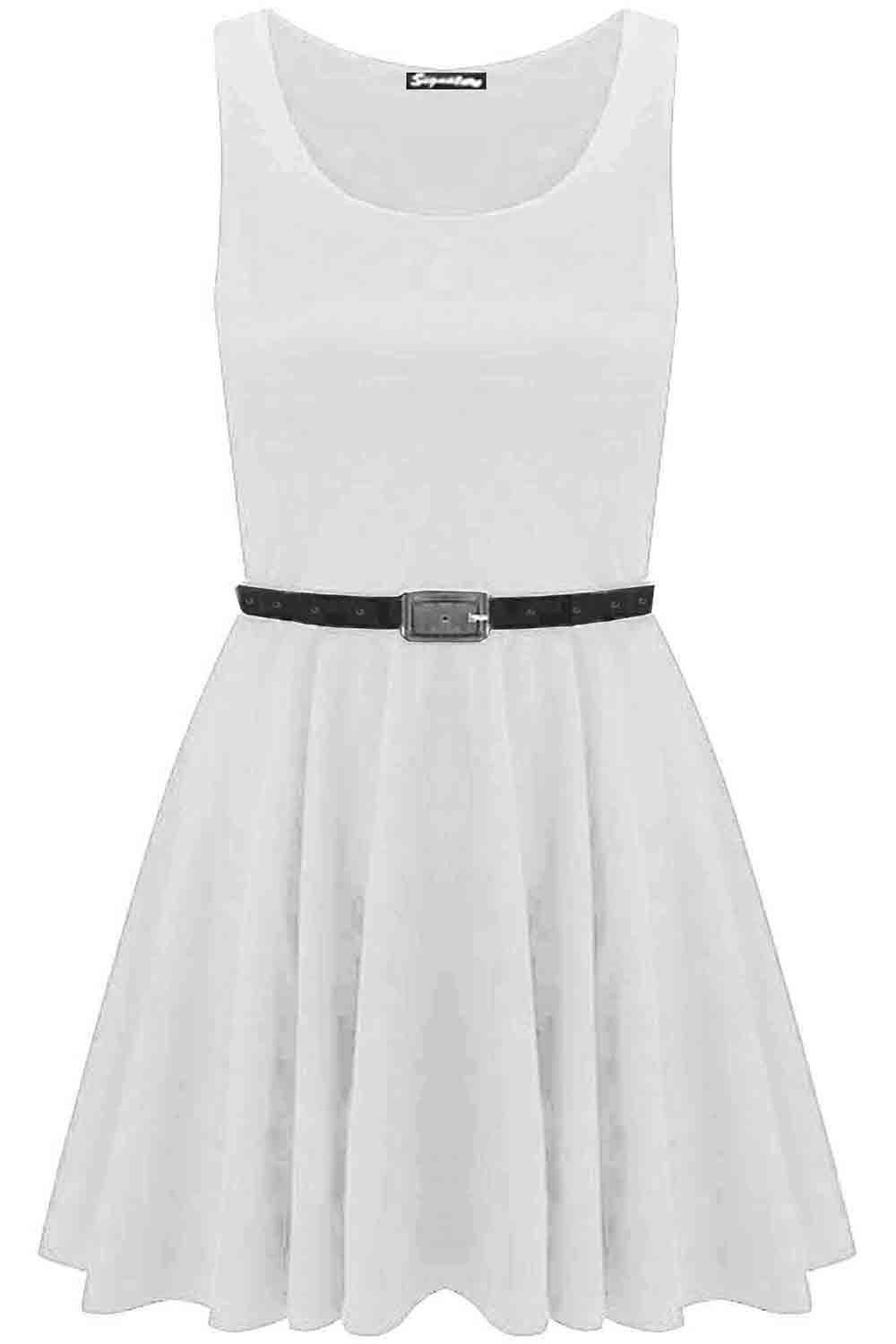 New-Womens-Ladies-Belted-Sleeveless-Franki-Flared-Party-Swing-Skater-Dress-Top thumbnail 3