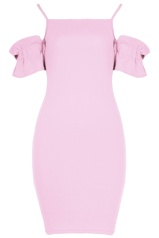 New-Womens-Ladies-Ruffle-Sleeve-Strappy-Square-Neck-Bodycon-Mini-Stretch-Dress