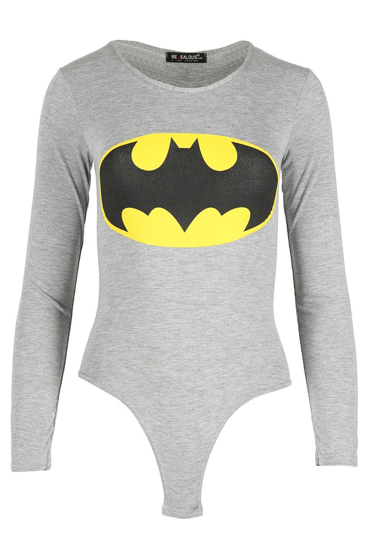 Womens-Superman-Batman-Superhero-Top-Full-Sleeve-Ladies-Bodysuit-Fitted-Jersey