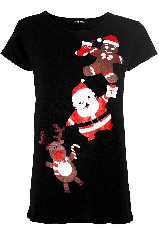 Femme Femmes Elf candystick flocons de neige de Noël Noël Extensible Tee T Shirt Top