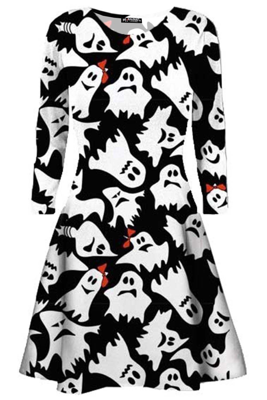 Womens Ladies Skull Pumpkin Cat Bat Spider Cobweb Witch Skater Mini Swing Dress