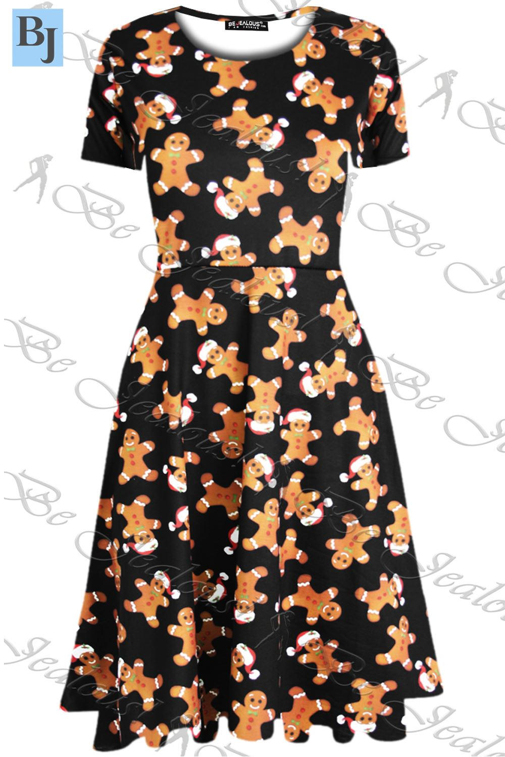 Christmas Dress.Details About Womens Christmas Xmas Print Santa Reindeer Ladies Party Midi Swing Skater Dress