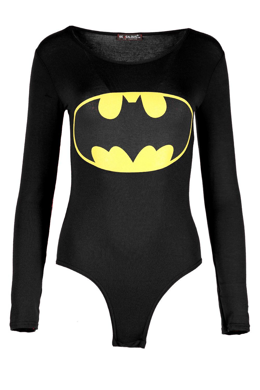 Womens-Batman-Bodysuit-Ladies-Superman-Leotard-Long-Sleeve-Round-Neck-Fitted