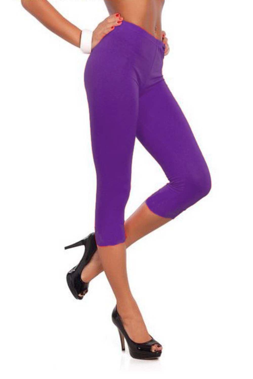 06f12f82621bc0 Womens 3/4 Length Leggings Ladies Floral Lace Cropped Trim Edge ...