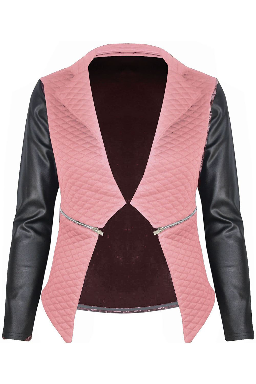 Women Ladies Quilted PU Leather Look Long Sleeve Zip Waterfall Blazer Jacket Top