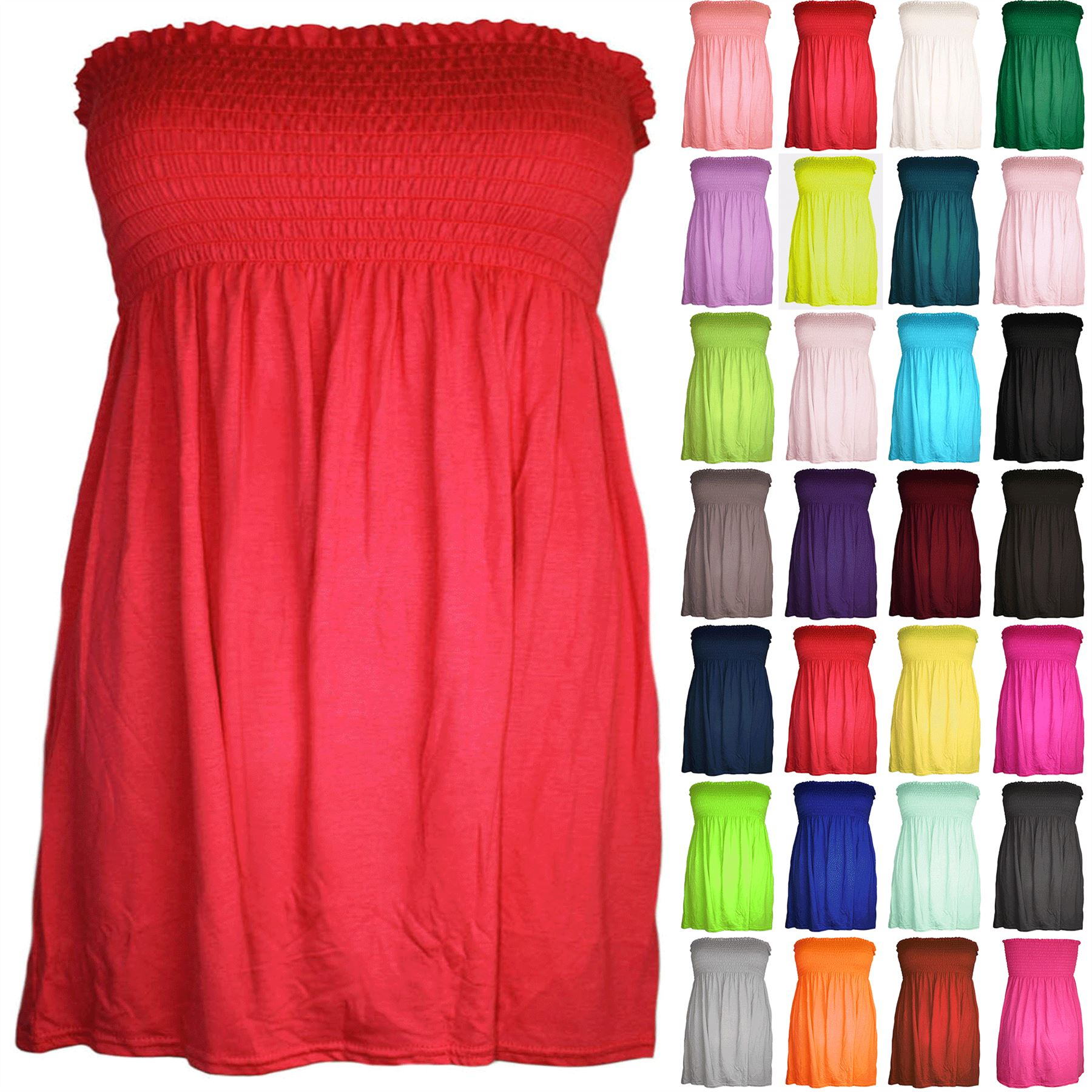 62430839d8 Plus Size Womens Ruched Jersey Ladies Sheering Flared Swing Bandeau ...