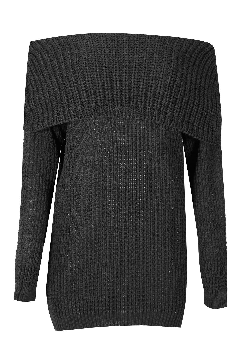 2b6a6f89a0 Womens Ladies Off Shoulder Cable Ribbed Knit Oversized Bardot ...