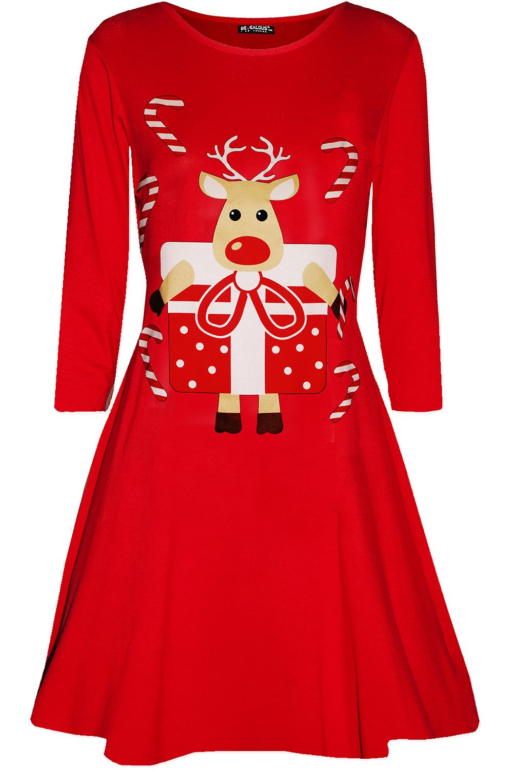 Womens-Ladies-Kids-Girls-Christmas-Xmas-Santa-Reindeer-Flared-Swing-Mini-Dress thumbnail 44