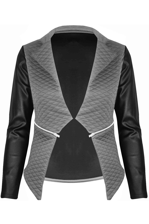 New-Womens-Ladies-Quilted-PVC-Long-Sleeves-Zip-Blazer-Top-Waterfall-Jacket-Coat thumbnail 8