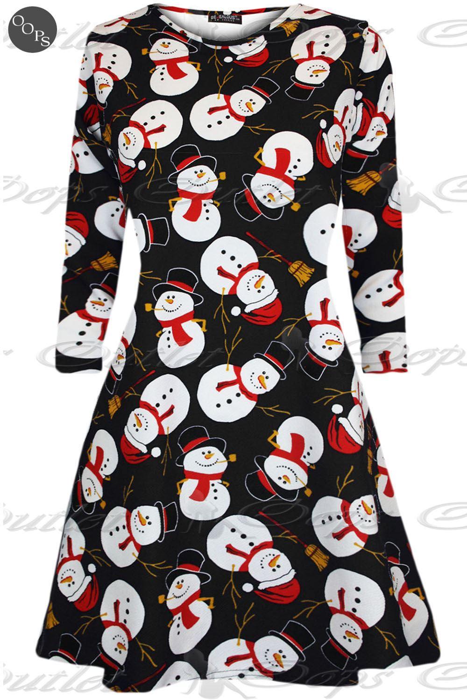 Vestido para mujer Swing De Navidad Mujer Regalo De Navidad Santa Rudolph Olaf presente Muñeco de nieve