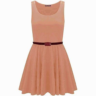 New-Womens-Ladies-Belted-Sleeveless-Franki-Flared-Party-Swing-Skater-Dress-Top thumbnail 9