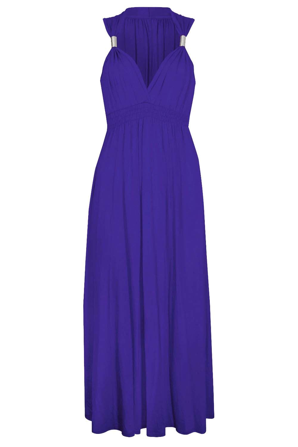 Womens Ladies Stretch Spring Coil Jersey Long Evening Maxi Dress ...