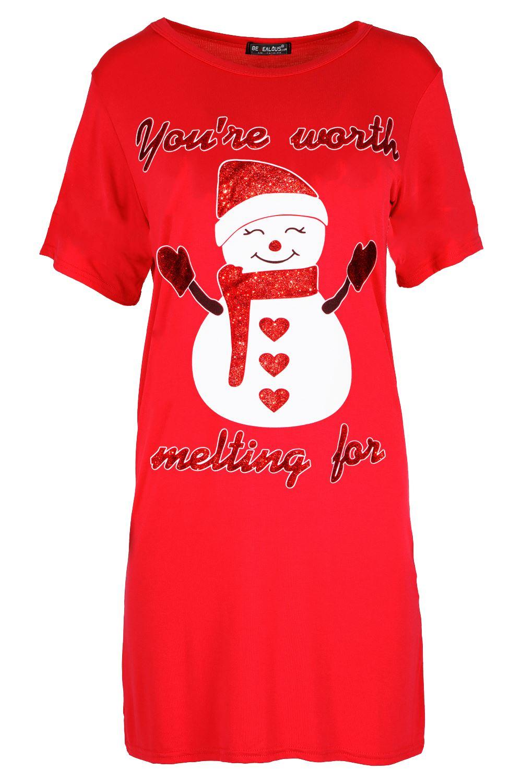 Womens-Ladies-Christmas-Reindeer-Xmas-Pudding-Baggy-Oversized-T-Shirt-Mini-Dress