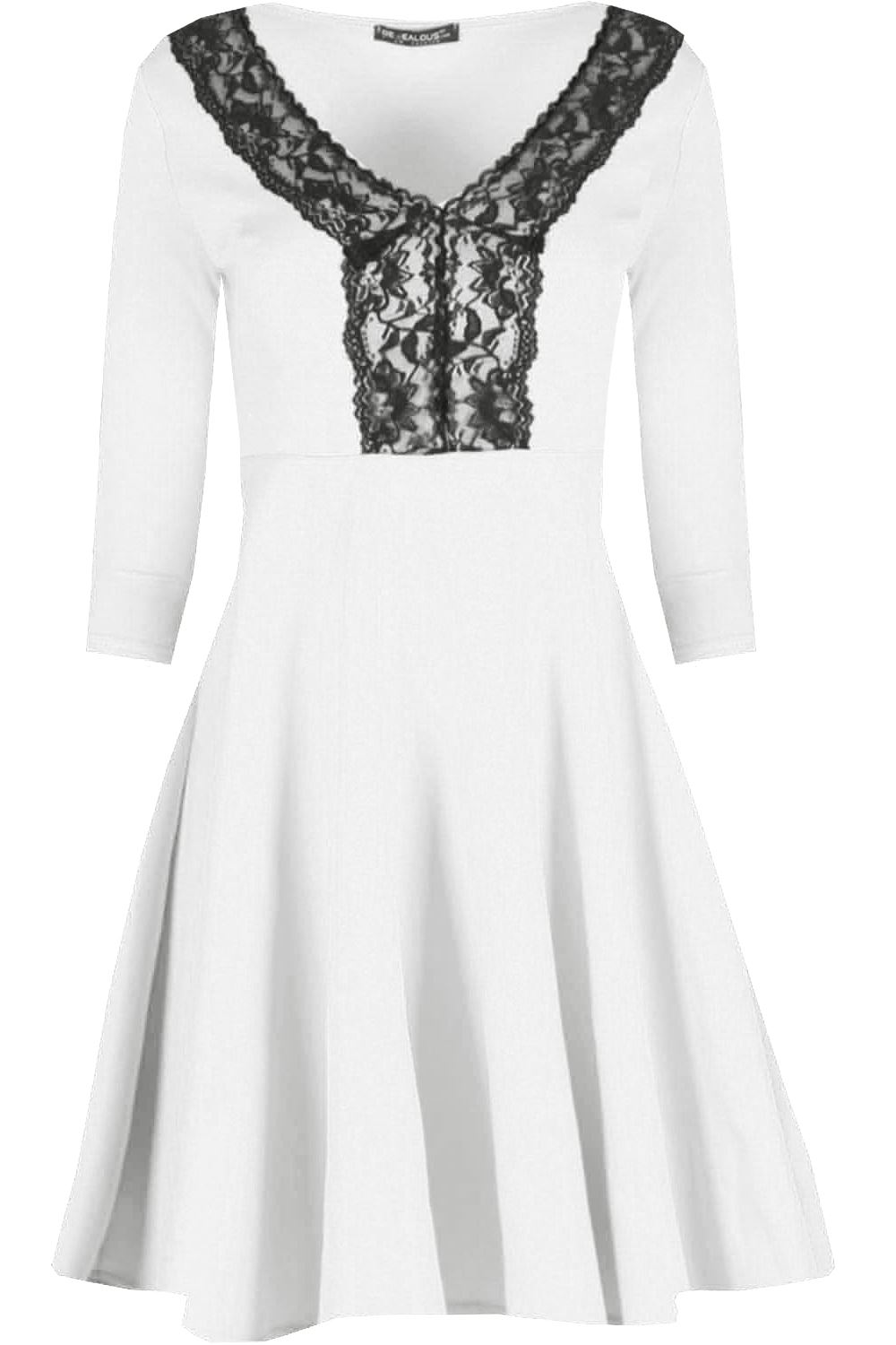 Womens-Swing-Dress-Ladies-Contrast-Lace-Insert-3-4-Sleeve-V-Neck-Skater-Dresses