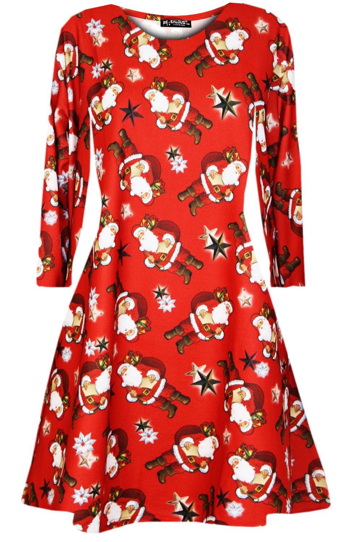 Womens-Xmas-Ladies-Santa-Snowman-Reindeer-Flare-Christmas-Smock-Swing-Mini-Dress thumbnail 24