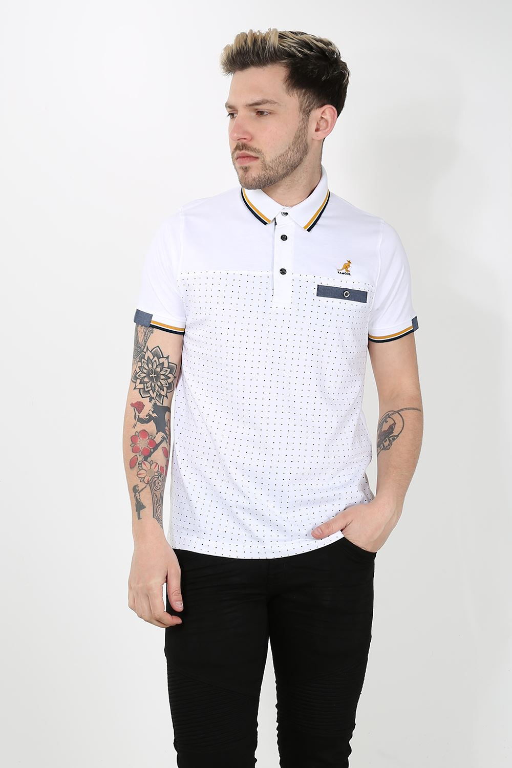 Kangol mens block dots striped collar cuffed sleeves polo for Polo shirt with undershirt