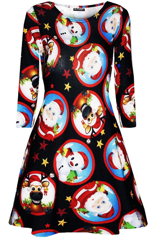 Womens-Xmas-Ladies-Santa-Snowman-Reindeer-Flare-Christmas-Smock-Swing-Mini-Dress thumbnail 11