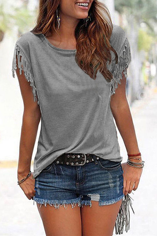 Ladies-Womens-Short-Sleeve-Fringe-Loose-Summer-Top-Casual-Blouse-T-Shirt-Tops-UK thumbnail 7