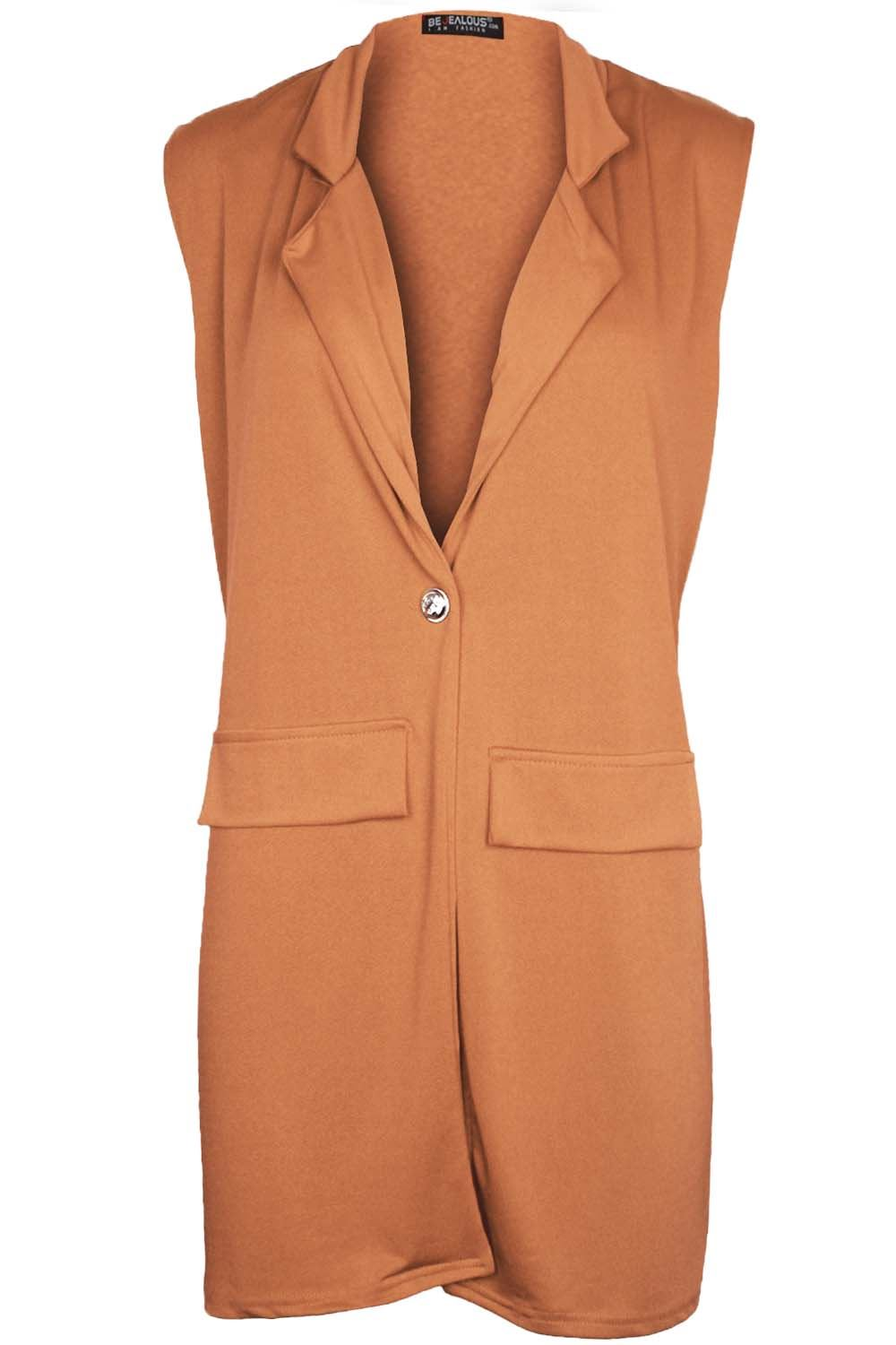Women-Ladies-Sleeveless-Long-Duster-Coat-Collar-Waistcoat-Smart-Blazer-Plus-Size thumbnail 19