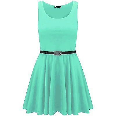 New-Womens-Ladies-Belted-Sleeveless-Franki-Flared-Party-Swing-Skater-Dress-Top thumbnail 15