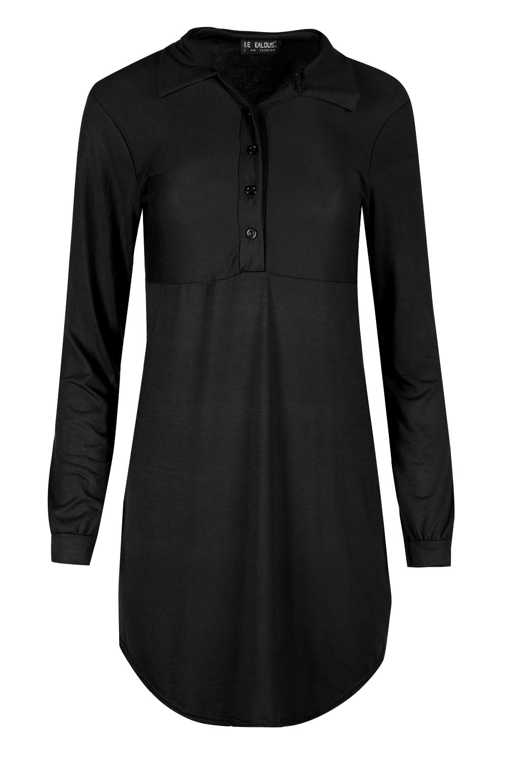 Black t shirt dress ebay - Womens Ladies Long Sleeve Collar Curved Hem Front