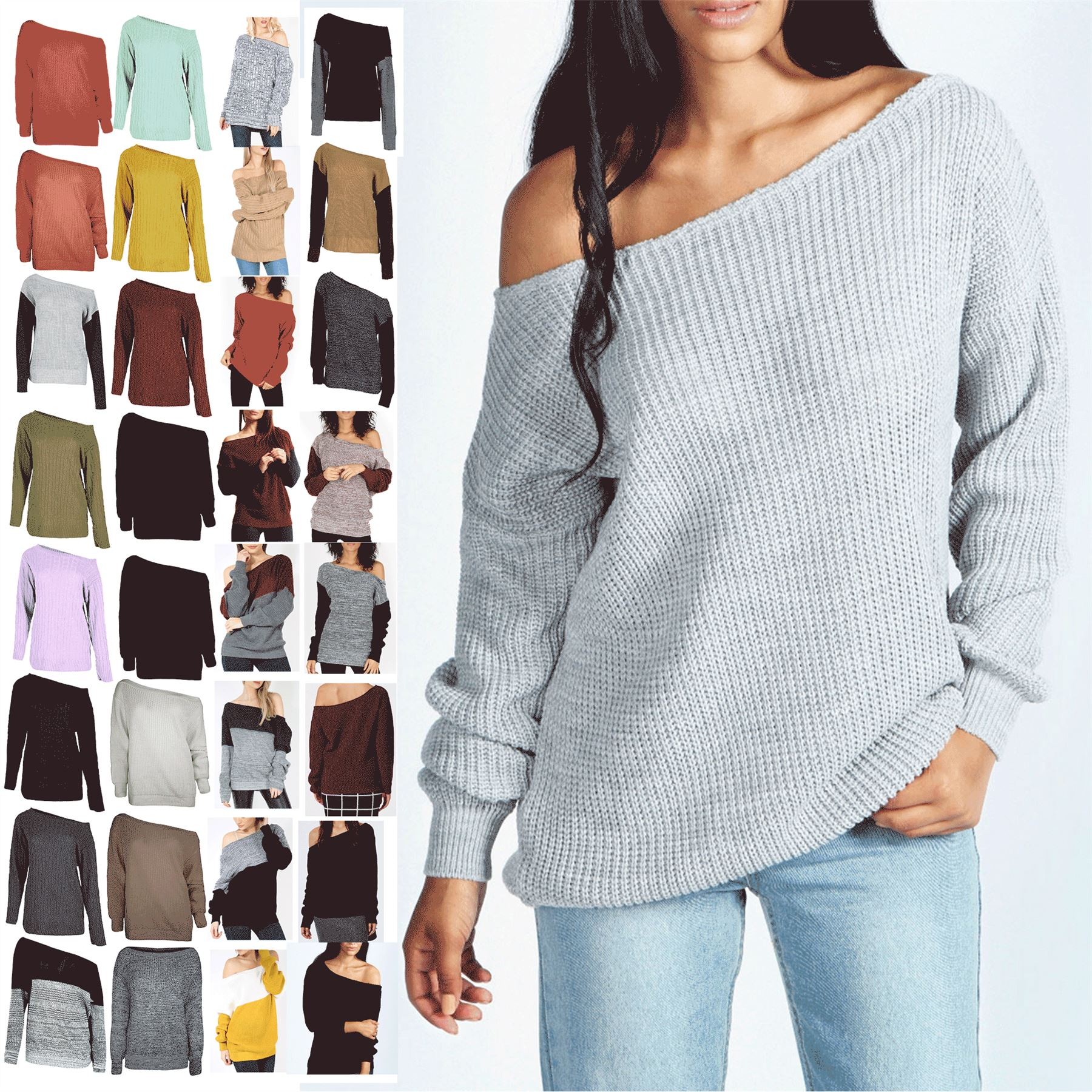 9a89906c7773c Image is loading Ladies-Off-The-Shoulder-Chunky-Knitted-Oversized-Jumper-