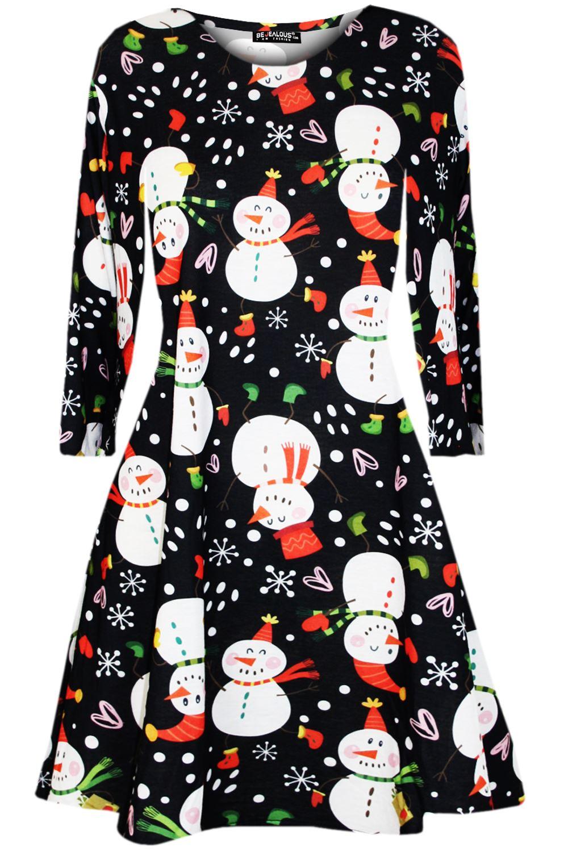 Womens-Ladies-Santa-Snowman-Christmas-Xmas-Flared-Smock-Skater-Mini-Swing-Dress thumbnail 36